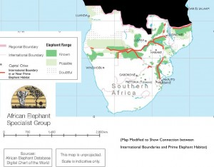 Map of Elephant Distribution and International Boundaries in Southern Africa