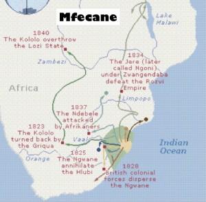 Map of Mfecane
