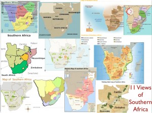 Maps of Indicating Different Definitions of Southern Africa