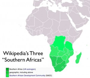 Wikipedia's Map of Three Southern Africas