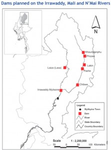 Map of Dam Sites in Northern Burma
