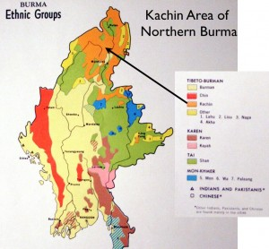 Map of Ethic Groups in Northern Burma, Highlighting the Kachin