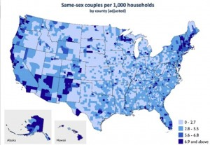 US Census Map of Same-Sex Couples by County