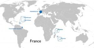 Modified Wikipedia World Map of France