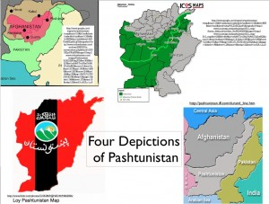 """Map showing different definitions of the term """"Pashtunistan"""""""