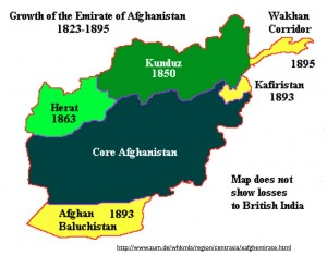 Map of the Growth of Afghanistan in the 1800s