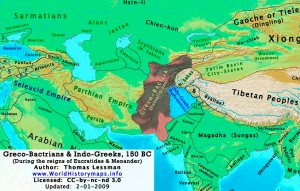 Map of Greek Kingdoms in Afghanistan and India, Circa 150 BCE