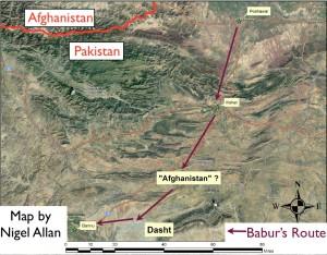 "Nigel Allan's Map of Babur's Use of the Term ""Afghanistan"""