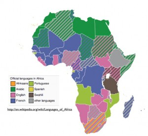 Wikipedia Map of Africa's Official languages