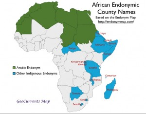 Map of Indigenous and Arabic Country Endonyms in Africa