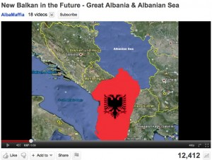 """YouTube Map of Greater Albania and the """"Albanian Sea"""""""