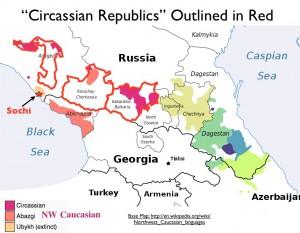 Map of the Circassian Republics in Russia