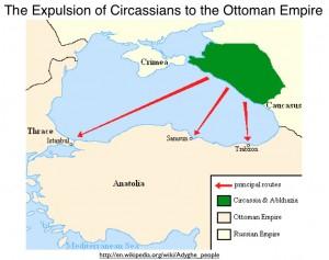 Wikipedia Circassian diaspora map
