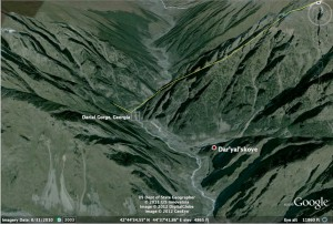 Google Earth Image of Darial Gorge, Georgia and North Ossetia