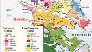 Map of the Former Greek Communities in Georgia, Caucasus