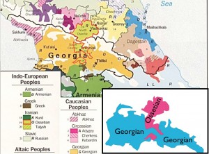 Map of ethnic groups in the Caucasus, emphasizing Georgians and Ossetians