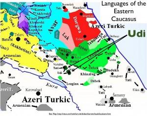 Map of NE Caucasian Languages, Including Udi