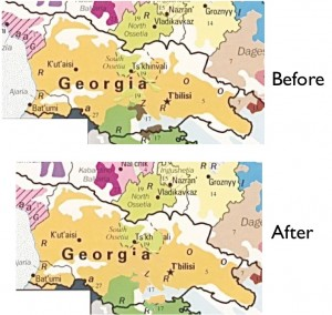 Maps showing ethnic changes in Georgia