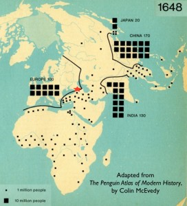 Population Map of Eastern Hemisphere Circa 1648 by Colin McEvedy