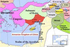 Modified Wikipedia map of the Armenian Kingdom of Cilicia, Circa 1200 CE