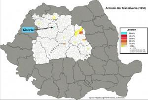 Modified Wikipedia map of Armenians in Transylvania 1850