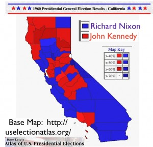 California Presidential Election 1960 map from Dave Leip's Atlas