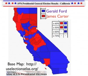 California Presidential Election 1976 Map from Dave Leip's Atlas