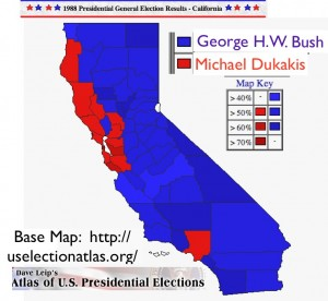 California Presidential Election 1988 Map from Dave Leip's Atlas