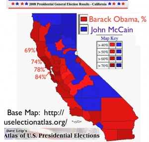 California 2008 Election Map from Dave Leip's Atlas