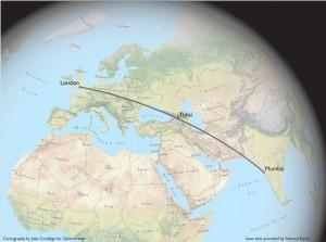London to Mumbai Great Circle Route, Passing Through the Caucasus