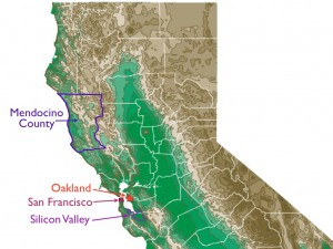 Northern California map, showing Silicon Valley, Oakland, and Mendocino County