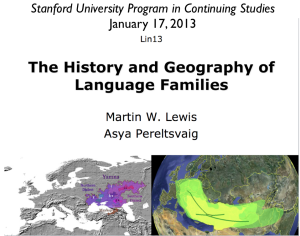 History and Geography of Language Families