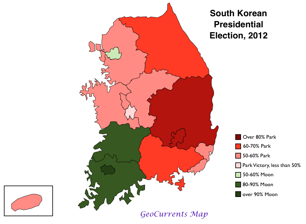 Intense Regionalism In The South Korean Presidential Election Of 2012 Geocurrents