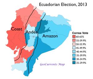 Ecuador 2013 Election Regions Map