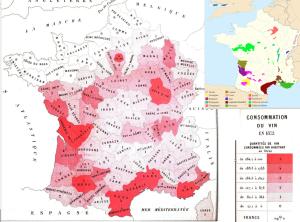 Wine Consumption France 1873 Map