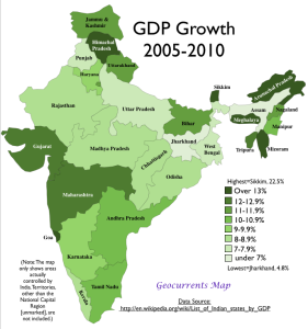 Indian states by GDP growth 2005-2010 Map