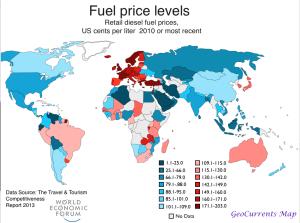 World Diesel Price Map