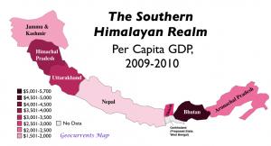 Himalayan GDP Per Capita Map