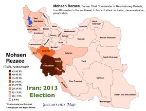 Iran 2013 Election Rezaee Map
