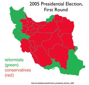 Iran 2005 Election Reformists Map