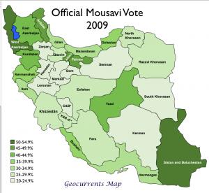 Iran 2008 Mousavi Vote Map