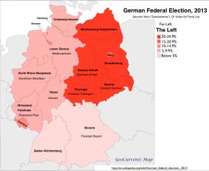 German Election 2013 Far Left Vote Map