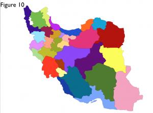 Iran Provinces Colors Map